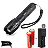 Constefire Tactical Flashlight with Rechargeable Battery & Charger - Super Bright LED, High Lumen, Zoomable, 5 Modes, Water Resistant - Best Camping, Emergency Flashlights