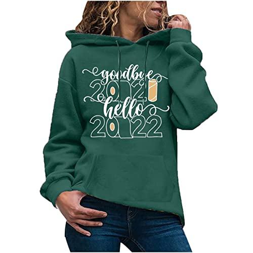 Shopler Jersey casual 2022 divertido año nuevo impresión suéter manga larga sudadera con capucha moda suelta deportes Top, verde, M