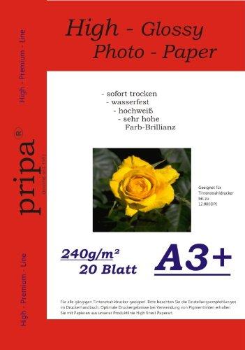 pripa–Lote de 20hojas de papel A3, 480x 330mm, 240g, High glossy (brillante) -très impermeable, brillante y impermeable con secado rápido para impresoras de inyección de tinta).