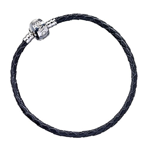 Black Leather Charm Bracelet 19cm