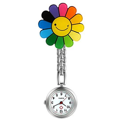 Reloj de enfermera para mujer con clip de estetoscopio insignia médicos solapa bolsillo cierre Fob relojes lindo rosa estilo flor para niñas
