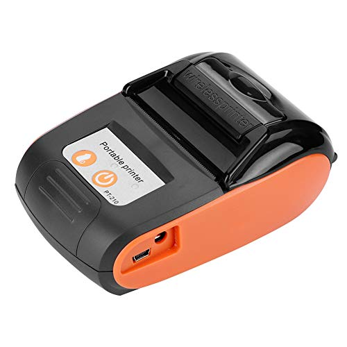 gostcai Mini Stampante Termica Portatile Wireless per ricevute Bluetooth,Stampante Termica per fatture da 58 mm 110-240 V,stampanti a Riscaldamento Diretto,Bluetooth 4.0 Android iOS Windows.(Arancia)