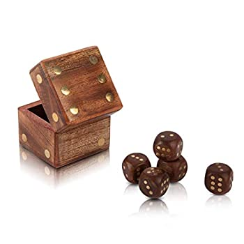 Handcrafted Wooden 5 Dice Box Holder Shaker Dice Thrower Roller Portable Dice Cup Five Dice Game Set Storage Case Decorative Brass Inlay Toys & Games Birthday Housewarming Party Favor Gift Ideas