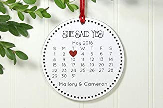 Rainbow Store Just Engaged Ornament Calendar She Said Yes Exclusive 3 5/8 Inch Porcelain Ornament Ceramic Ornament