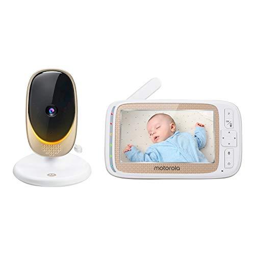 Motorola Comfort 60, Vigilabebés Wifi con pantalla a color de 5 pulgadas, zoom digital, audio bidireccional, visión nocturna por infrarrojos y 5 nanas relajantes, Blanco