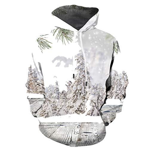 UFODB Unisex Weihnachtspullover Herren Damen Christmas Mode Jumper Sweater Hoodie Weihnachtsbaum 3D Drucken Langarm Unisex Kapuzenpullover Sweatshirt Outwear Tops