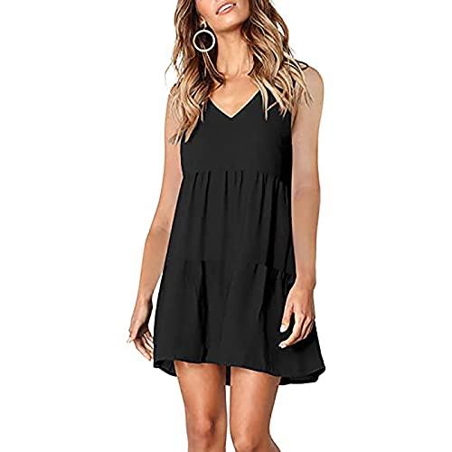 Lässiges Sommerkleid für Damen mit V-Ausschnitt und Volant-Kleid mit kurzen Ärmeln und geradem Ärmeln, einfarbig, kurzer Rock für zu Hause, atmungsaktiv und bequem.