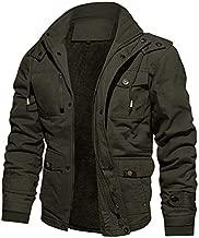 CRYSULLY Men Multi Cargo Pocket Tactical Safari Jackets Fall Cotton Field Fleece Jackets Army Green/US M/tag3XL