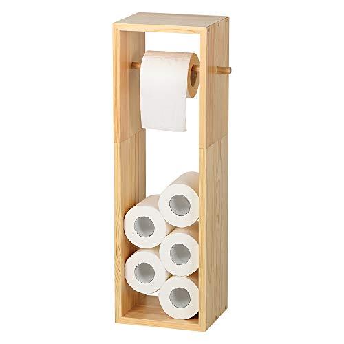 Nandae Toilettenpapierhalter stehend Echtes Holz WC-Garnitur Rollenhalter Klopapierhalter für mehrere Rollen