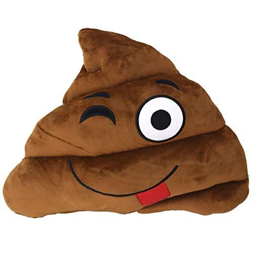 Marabella Emoji Kissen Plüschfigur Scheißhaufen XL Kackkissen 52x40cm Kuschelkissen, Smileys:Zunge Raus - augenzwinkern