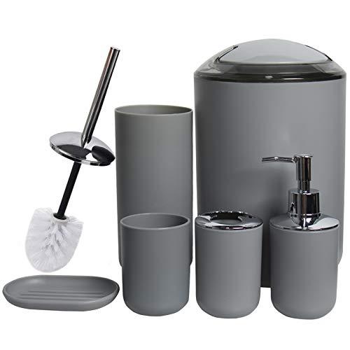 CERBIOR Bathroom Accessories Set Bath Ensemble Includes Soap Dispenser, Toothbrush Holder, Tumbler, Soap Dish for Decorative Countertop and Housewarming Gift (Grey)