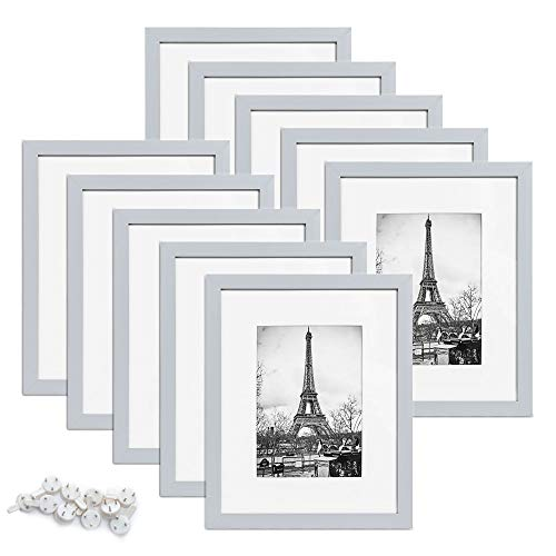 upsimples 8x10 Picture Frame Set of 10,Display Pictures 5x7 with Mat or 8x10 Without Mat,Multi Photo Frames Collage for Wall or Tabletop Display,Light Grey