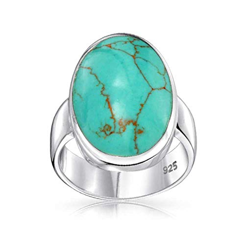 Large Oval Bezel Stabilized Turquoise Southwest Native American Style Boho Fashion Statement Ring 925 Sterling Silver