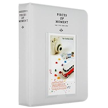 Woodmin [Instax Mini Photo Album] 64 Pockets Polaroid Photo Album 3 inch Pictures Fujifilm Instax Mini 8 8+ Mini 9, Snap, Zip, Z2300, Bank Card (Grey)