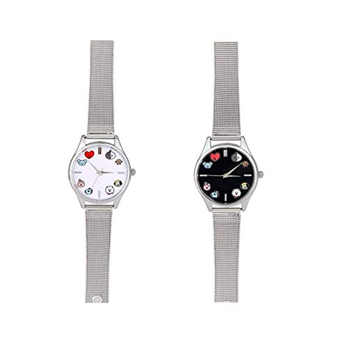 Mini Office Depot Kpop Cartoon-Uhr, Quarz-Armbanduhr, tolles Geschenk fr Army 2er-Set