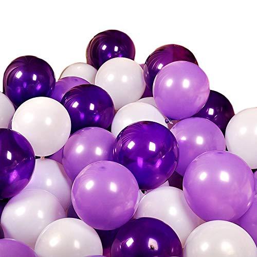 Miya 100er Set romantische Luftballon in DREI Farben, weiß & rosa & pink, ideal als Deko zur Hochzeit, zum Valentinstag oder zum Antrag, Deko für Geburtstag Party, (weiß & Lila & Lavende)