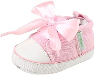 Berimaterry Bebe Zapatos Recien Nacido Niña Primeros Pasos Bordado Floral Antideslizante Suela Blanda Zapatos Bordado Floral Bowknot Antideslizante Suela Blanda Zapatos Sandalias para Bebés