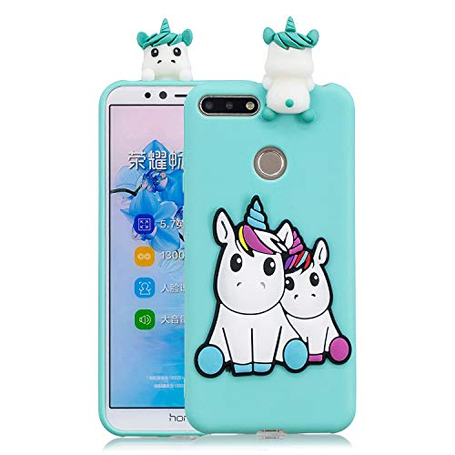 HopMore Compatible con Funda Huawei Y6 2018 / Honor 7A Silicona 3D Divertidas Panda Animal Carcasa TPU Gel Ultrafina Slim Case Antigolpes Caso Protección Cover Design Gracioso - Unicornio Unicorn