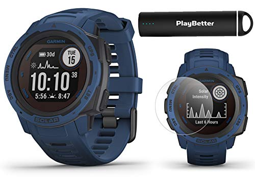 Garmin Instinct Solar (Tidal Blue) Power Bundle | with PlayBetter HD Screen Protectors & Portable Charger | Rugged, Heart Rate | 2020 Model, Solar Charging | Ultimate Outdoor GPS Watch
