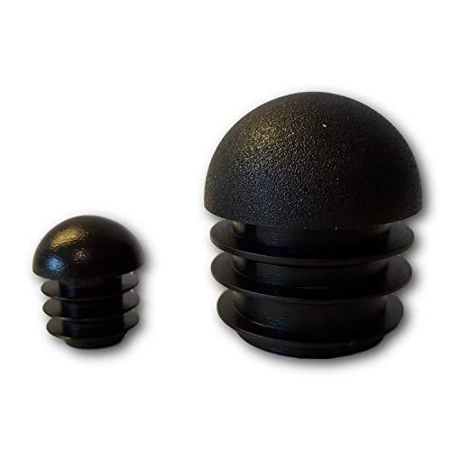 4 Gleiter/Stopfen mit Lamellen, Kunststoff, schwarz, Rundkopf, für runde Rohre (16mm)