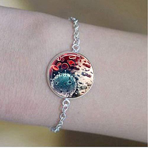 Virology-Schmuck, Viren-Armband, Mikroben-Biologie-Armband, wissenschaftliches Geschenk, mikroskopische Ansicht eines Virus-Armbands.