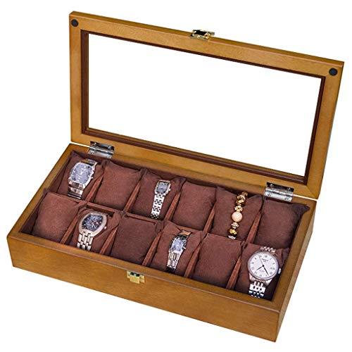 GFDFD Caja de Almacenamiento - 12 Rejillas Organizador Caja de Reloj Caja de Madera for Reloj Caja de joyería Pulsera Caja de Almacenamiento
