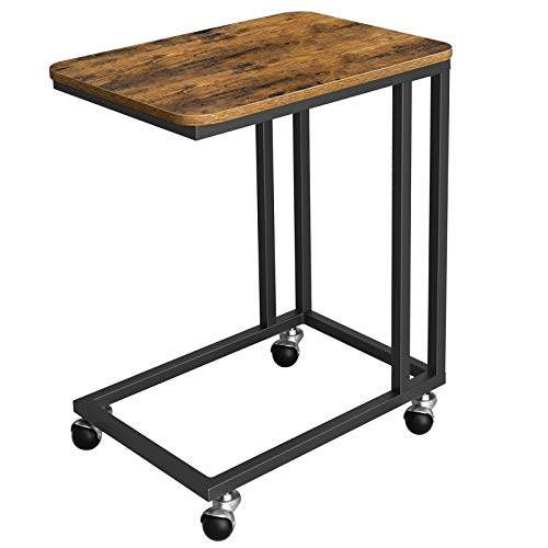 VASAGLE End Table, Side Table, Coffee Table, with Steel Frame and Castors, Easy Assembly, Industrial, for Living room, Bedroom, Balcony, Rustic Brown and Black LNT50X
