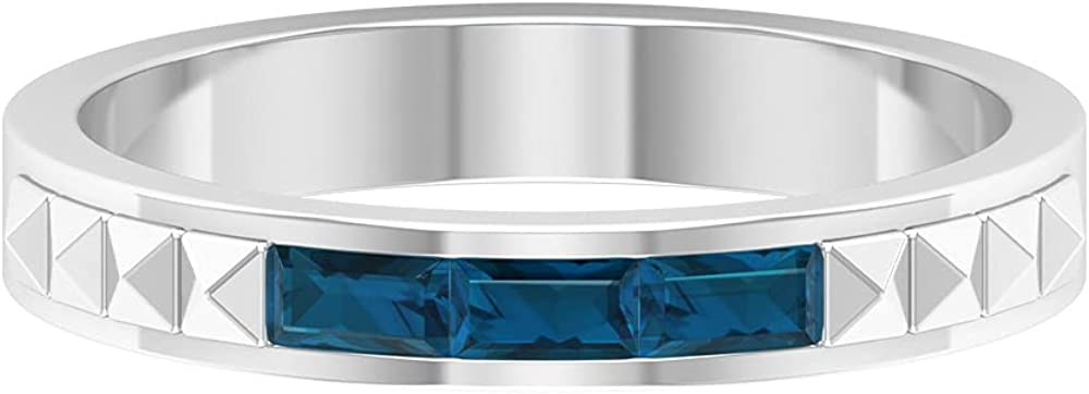 1/2 CT Baguette Cut London Blue Topaz and Gold Textured Two Tone Band Ring (AAA Quality),14K White Gold,London Blue Topaz,Size:US 8.00
