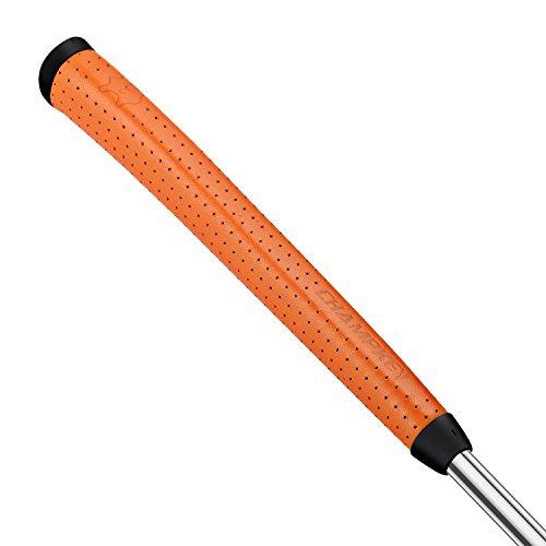 Champkey Genuine Leather Midsize Golf Putter Grip Pure Handmade Club Grip Ergonomics Design with Soft Comfort Material (Orange)