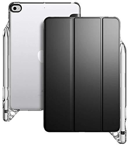 POETIC iPad Mini 5 Custodia, Smart Cover con Apple portamatite, retro flessibile in TPU trasparente morbido, serie Lumos X Custodia per iPad Mini 5 7,9 '2019, nero/trasparente