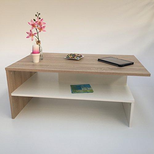 Möbel SD Couchtisch Wohnzimmertisch Kaffeetisch SW - Sonoma Eiche hell Sägerau - Weiß
