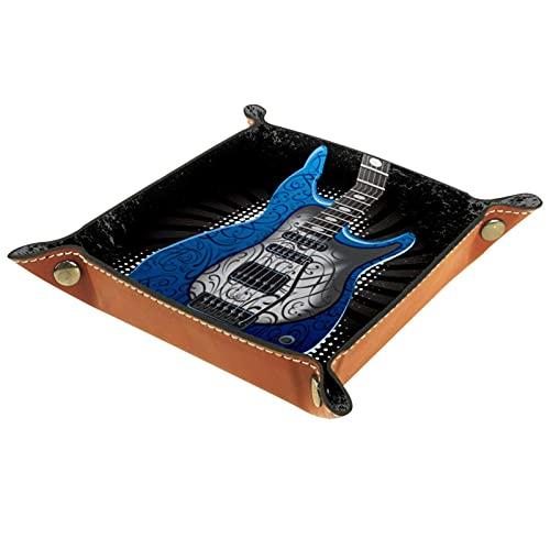 Bandeja cuadrada plegable para dados para juegos de dados DND, caja de almacenamiento para llaves de caramelo, ideal para almacenamiento en oficina, cocina, aula, baño, guitarra eléctrica azul