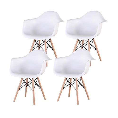 N/C Conjunto de 4 sillas, sillas de Comedor, Sillón, Silla de diseño Vintage con Patas de Haya (Blanco)