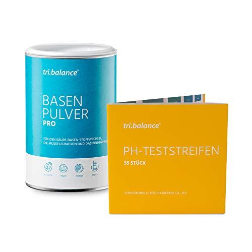 tri.balance Basenpulver Pro 300 g - 1er Pack inkl. 55 pH-Teststreifen - E-Book Entsäuerungskur I Vorteilspaket für den Säure-Basen-Haushalt
