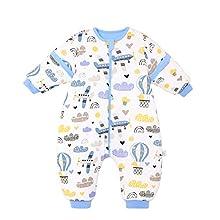 Bebé Saco de Dormir con Piernas Invierno Algodón Pijama Dividida Manga Cálido Mamelucos Dibujos Animados Mono Niños Niñas 0-2 años 3.5Tog Avion azul