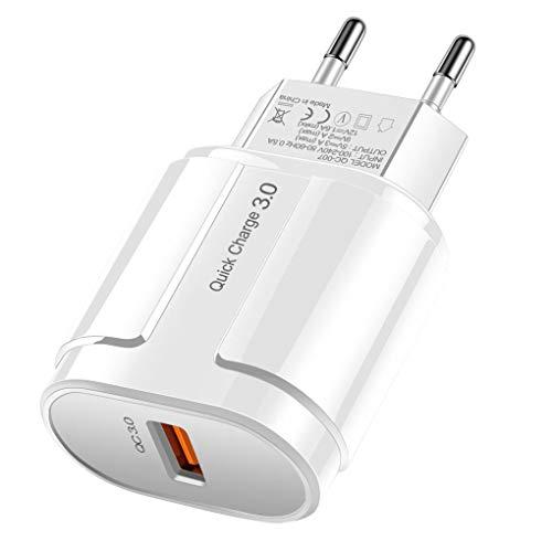Vokmon Cargador de teléfono 18W USB al Adaptador de Carga de CC 3.0 de Carga rápida Enchufe de Pared de un Solo Puerto USB, Blanco, Enchufe de la UE