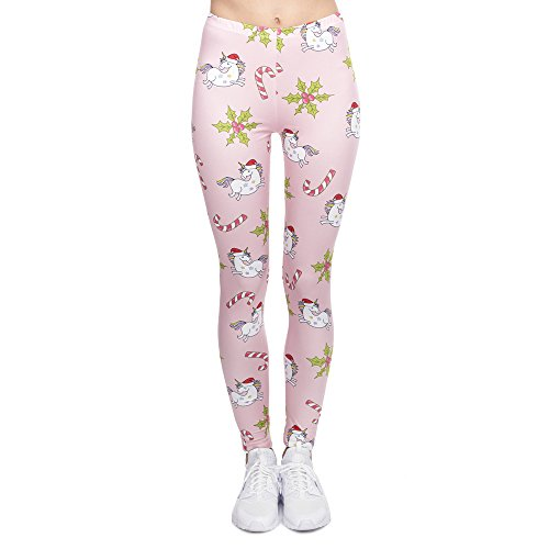 MAOYYMYJK Moda Mujer Elegante Legging Navidad Unicornios Impresión Fitness Leggings Pantalones de Mujer de Cintura Alta