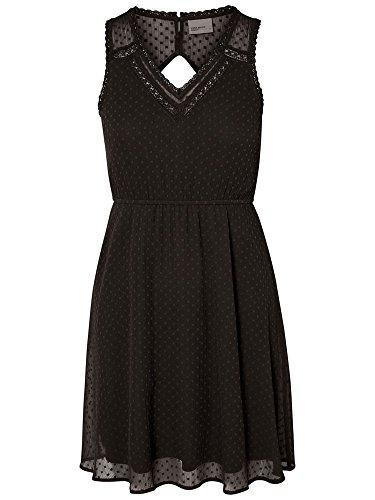 VERO MODA Damen VMBIANCA S/L Mini Dress NOOS Kleid, Schwarz (Black Black), 42 (Herstellergröße: XL)
