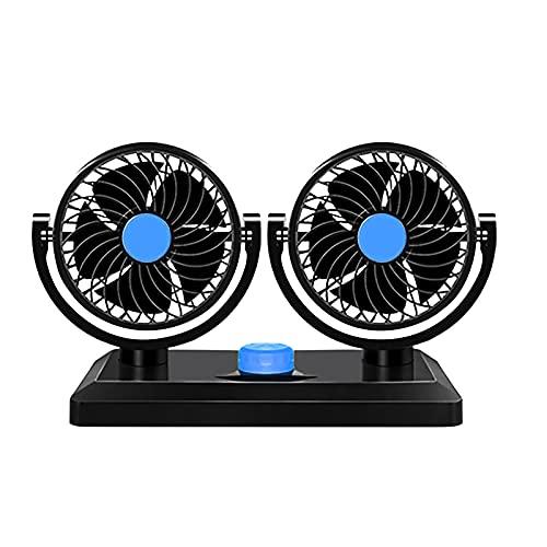 BALLAD Ventilador de escritorio de 12 V de doble cabeza ajustable viento verano coche camión giratorio ventilador de coche para oficina dormitorio escritorio