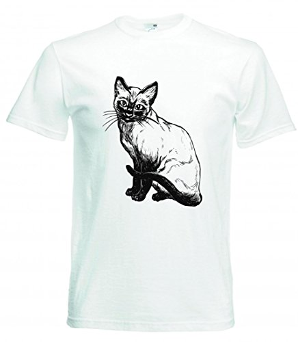 Camiseta con diseño de gato siamésico, gato, mascota, asiento, siaméese, gatito, reincrustado, gato, pelo corto, serrín, animal para hombre, mujer, niños, 104 – 5 XL Blanco Para Hombre Talla : XX-Large