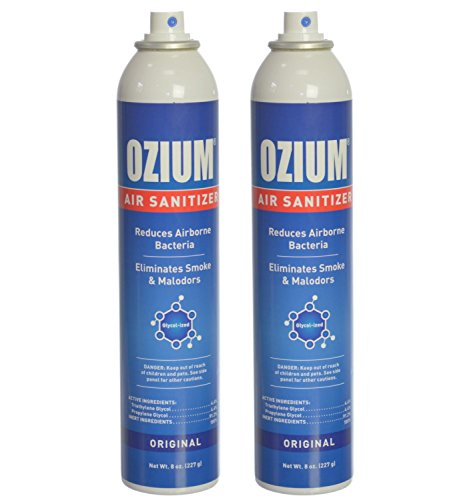Ozium Air Sanitizer Reduces Airborne Bacteria Eliminates Smoke & Malodors Spray Air Freshener, Original, 8 Oz (2 Pack), Natural