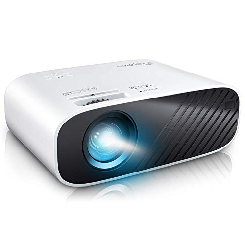 """ELEPHAS2020MiniMovieProjector,5000LUXFullHD1080PVideoProjector,with50,000HoursLEDLampLifeand200""""Display, CompatiblewithUSB/HDMI/VGA/Laptop/iPhone/TVStick/TF Card (Renewed)"""