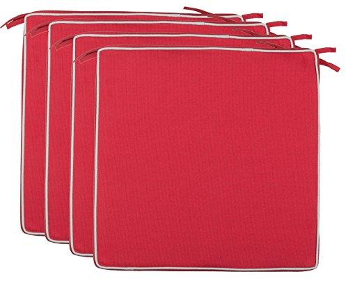Brandsseller Outdoor Sitzkissen Kissen Dekokissen - Schmutz- und Wasserabweisend - 220 gr. Füllung - Größe: 40 x 40 x 4 cm (4er-Vorteilspack, Rot - strukturiert)