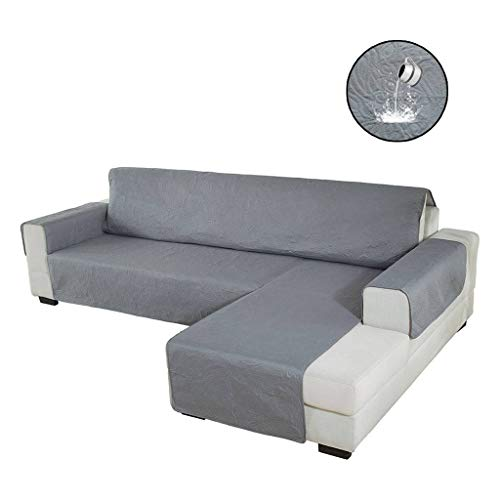 HUOLEO L-Form Sofabezug,Antirutsch Wasserdicht Atmungsaktive 1 Stück Sofahusse Gesteppte Möbelschutz Schutz Zum Haustier Katzen Hund-Dunkelgrau-richtig240X270cm