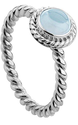 Nenalina Damen Ring Silberring besetzt mit 6 mm blassblauem Aquamarin Edelstein, handgearbeitet aus 925 Sterling Silber, Gr. 56-212999-098-56