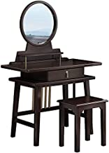 Large Elegant Makeup Dressing Table, Vanity Set with Drawers & Storage Shelves, Easy Assembly, Dressing Desk with Mirror a...