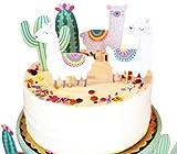 Sonsmer Décorations pour gâteau d'anniversaire et cupcake en forme de lama alpaga et cactus