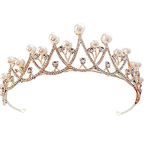Boda de la joyería de la tiara de la reina Rey boda del partido de casco de la novia del pelo de cristal Accesorios for el cabello velo de novia TSYGHP