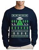 Green Turtle Sudadera para Hombre - Jersey de Navidad Regalo Geek Reno Espacio Extraterrestres Large Azul Oscuro