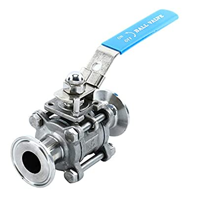 """Homend Stainless Steel 304 1"""" Sanitary Ball Valve Fits 1.5"""" Tri-Clamp Clover, PTFE Lined, Two Way & Three Piece (1 Inch Tube OD Quick Clamp) from Homend"""